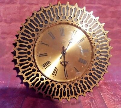 Vintage Retro Coral West German Wall Clock Golden Sunburst Sunray 1970's 1960's