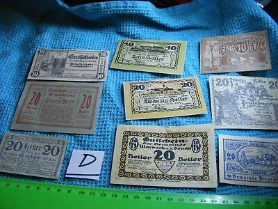Lot of 9 Different Old Austria-Hungary Banknotes,unused/used,c.1920(D).