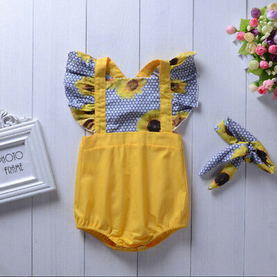 Toddler baby girl jumpsuit romper bodysuit + headband kids clothes outfits setBL