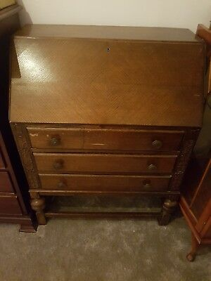 Antique Oak Bureau Writing Desk
