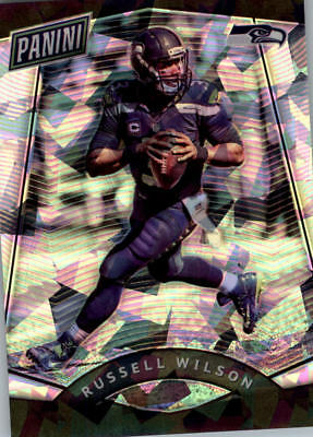 2017 Panini National Convention Vip Prizm Cracked Ice #14 Russell Wilson Fb / 25