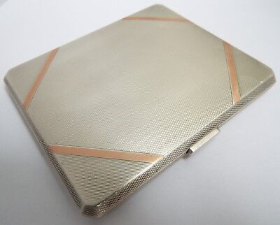 Fine Quality Heavy English Antique 1938 Solid Silver & Rose Gold Cigarette Case