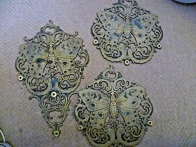 Vintage Brass ? Bronze Very Heavy Butterfly Furniture Panels ? Wall Plaques ?