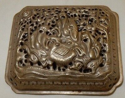 Vintage Chinese Pierced White Metal Lid Cover