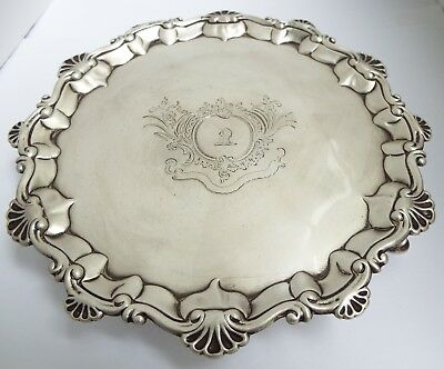 Fine Heavy English Antique Georgian 1770 Solid Sterling Silver Salver Card Tray