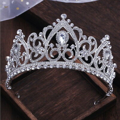 8cm High Luxury Large Drip Crystal Wedding Bridal Party Pageant Prom Tiara Crown