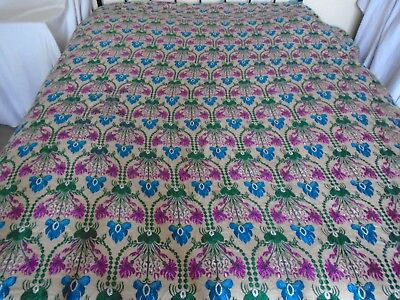 TrueVintage bed spread throw brocade GULTEX Arts&Crafts floral pattern upcycle