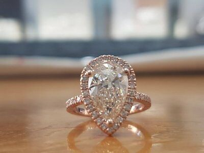 2Ct Pear-Cut Diamond Solitaire Engagement Ring 10K Rose Gold Finish