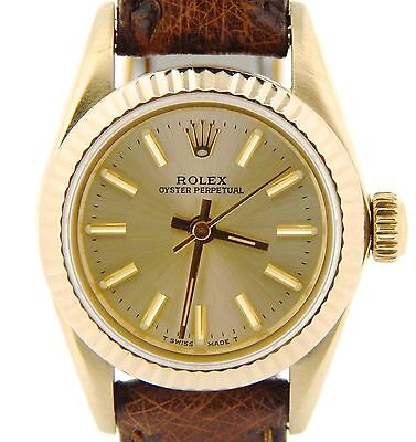 Ladies Rolex Solid 14k Yellow Gold Oyster Perpetual Watch Brown Champagne 67197