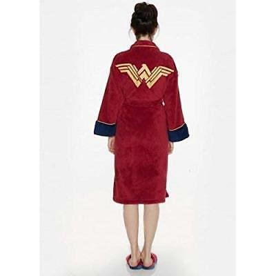 NEW Wonder Woman Womens Super Hero Adult Dressing Gown Bath Robe Slippers Mules