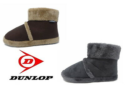 Dunlop Mens Famous Warm Slipper Boots Furry Lining & Cuff, Rubber sole