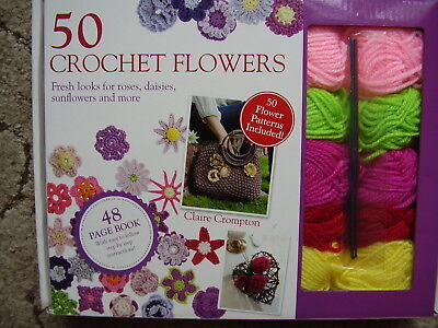 Crochet Flowers Kit. Wools Patterns Hooks & Instructions make 50 Flowers