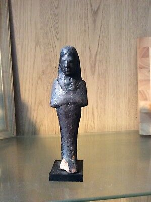 Ancient Egyptian Black Wooden Shabti Figure
