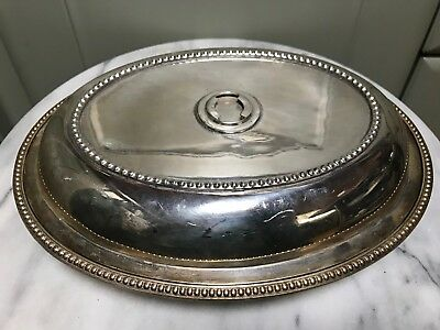 Silver plate servng dish with lid (no handle)