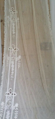 Vintage lace curtain, very long, ivory