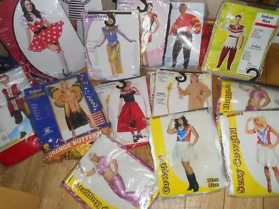 JOB LOT Fancy Dress Outfits 15 costumes womens and kids new, smiffy