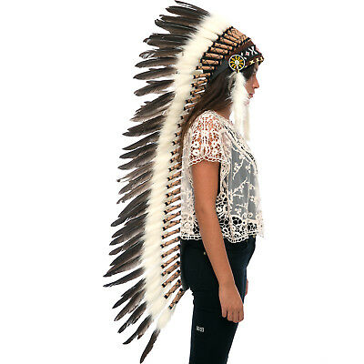 Extra Long American Indian Style Headdress - ADJUSTABLE - Natural Black Duck