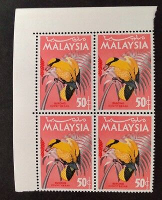 Malaysia 1966 Birds 50 Cent Block Of 4 With Margins Mint Mnh