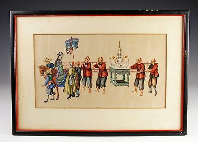 Exceptional Antique Chinese Pith Rice Paper Painting With Figures - #9 Of 10