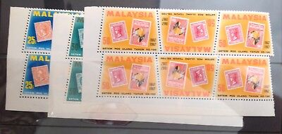 Malaysia 1967 Stamp Centenary Set Of 3 In Blocks Of 6 With Margins Mint Mnh
