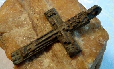"Antique 18-19 Century Russian Orthodox ""old Believers"" Large Cross Pendant"