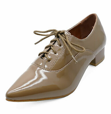 Ladies Taupe Patent Lace-Up Oxford Brogue Pointy Work School Hipster Shoes 3-8