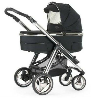 BEBECAR HIP-HOP Tech Combination Pram+Carrycot+Hood+Raincover etc- Classic Black