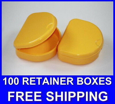 100 Yellow Denture Retainer Box Orthodontic Dental Case Mouth Ortho Brace Teeth!