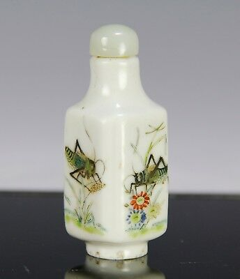 Antique Chinese Daoguang Period Four Sided Snuff Bottle With Insects