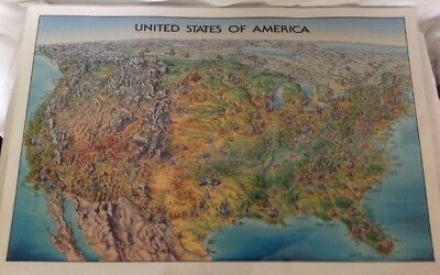 2 Vtg Geographic Topography Map USA And World Laminated Very Detailed Maps 27x18