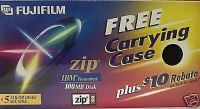 FujiFilm 100MB Zip Disk IBM Formatted 5 count pack with carrying case