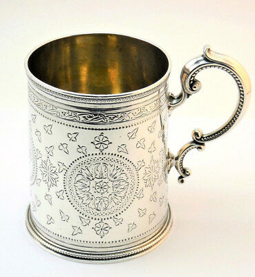 c1869, ANTIQUE 19thC VICTORIAN SOLID SILVER HAND CHASED CHRISTENING MUG TANKARD