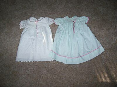 Two Vintage Baby / or Doll Dresses Size Approx. 9 Months