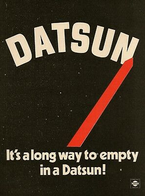 1980 AD Datsun Long Way to Empty Gas Gauge graphic Vintage Print Ad