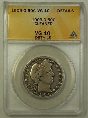 1909-O US Barber Silver Half Dollar 50c Coin ANACS VG-10 Details Cleaned
