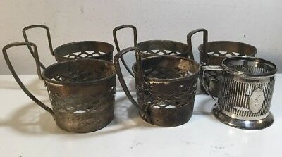 5 Vintage Silver Plated Tea Cup Holders Made In England +1