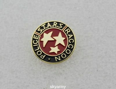 RESIDENT EVIL STARS S.T.A.R.S. RACCOON POLICE LAPEL PIN-black and red