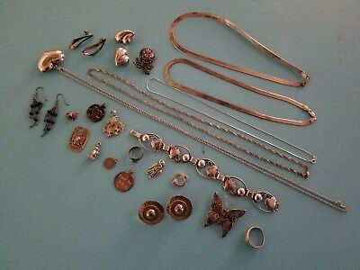 Mixed Lot Of Sterling Silver Jewelry- Rings, Bracelets, Etc 146.9 G