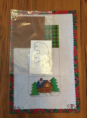 Renaissance Needlepoint KIT Canvas Small Suede PURSE Christmas LOG CABIN Design