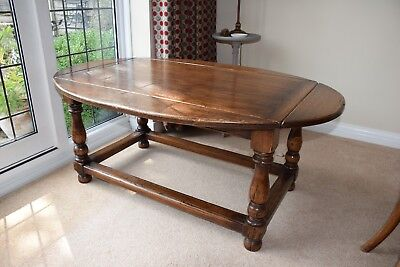 Antique Style Solid Oak Drop Leaf Occasional / Coffee Table