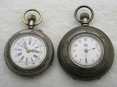 Lot Of 2 Vintage Coin Silver Pocket Watch