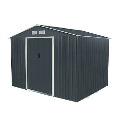 Charles Bentley Navy Grey 6ft x 9ft Metal Steel Garden Shed Outdoor Storage