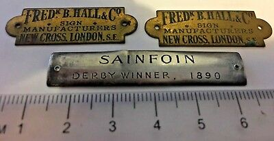 2 Small Brass advertising signs & Derby winner 1890 possibly silver?