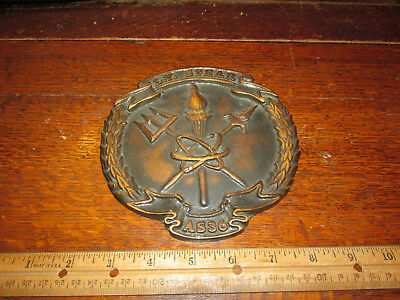 US NAVY Vintage Solid BRONZE SHIP Plaque L.Y. SPEAR AS36 SUBMARINE TENDER 1970