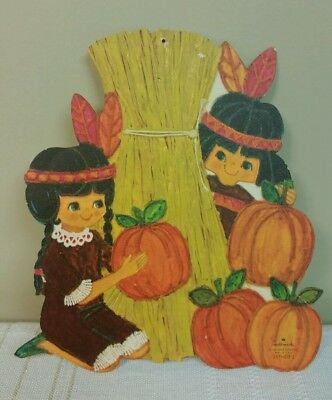 Vintage Hallmark Thanksgiving Paper Die Cut Out Native American Boy And Girl