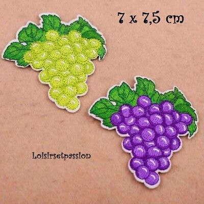 GRAPPE RAISIN Lilas Parme 6 x 6,5 cm applique PATCH écusson thermocollant