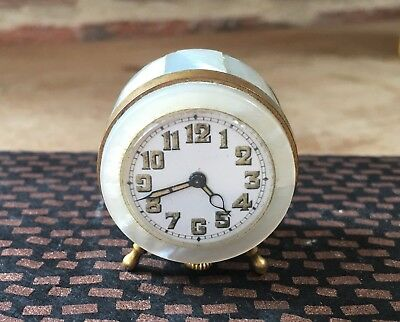 Antique Mother of Pearl Small Clock Mossera Watch company 1920's For Restoration