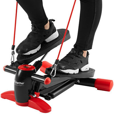 Heimtrainer Mini Stepper with Resistance Band Fitness Trainer LCD Swing Stepper