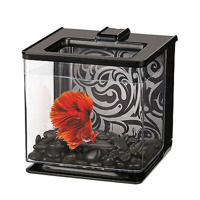 Marina 0.7 Gallon Betta EZ Care Aquarium Kit, Black