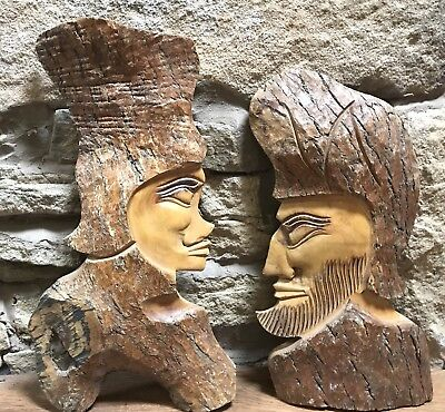 Large Solid Wood Hand Carved Wall Plaques Pair Of (Indonesian?) Heads